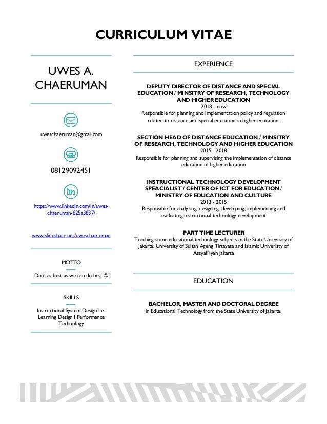 CURRICULUM VITAE UWES A. CHAERUMAN uweschaeruman@gmail.com 08129092451 https://www.linkedin.com/in/uwes- chaeruman-825a383...