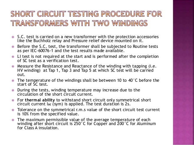 Short circuit test in brief