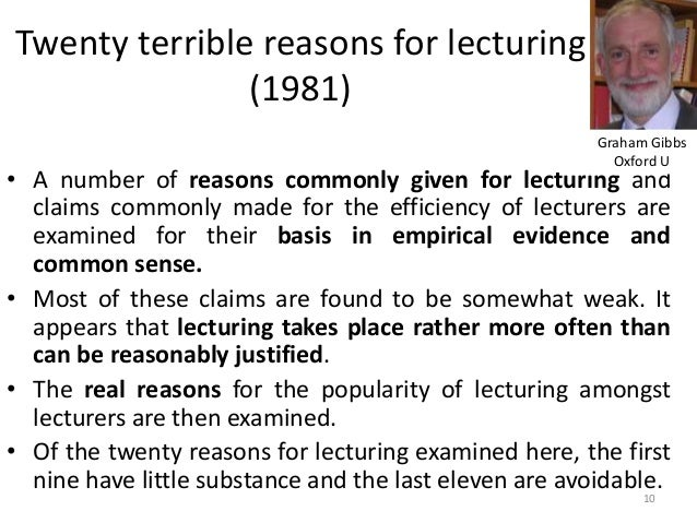 Twenty terrible reasons for lecturing (1981) • A number of reasons commonly given for lecturing and claims commonly made f...