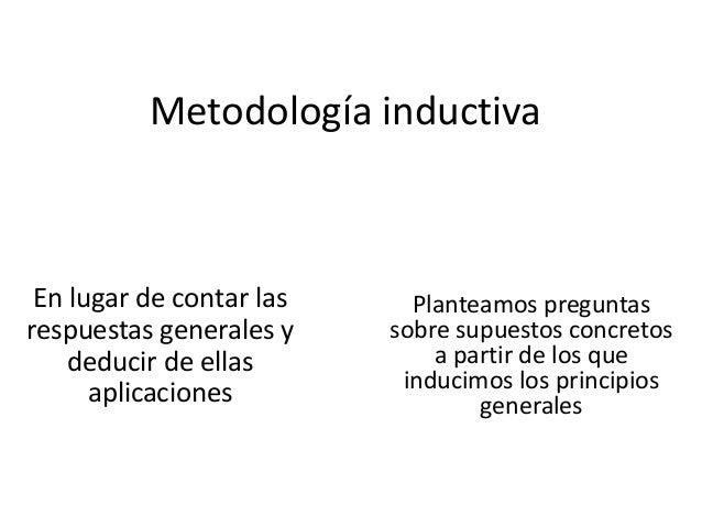 Metodología inductiva En lugar de contar las respuestas generales y deducir de ellas aplicaciones Planteamos preguntas sob...
