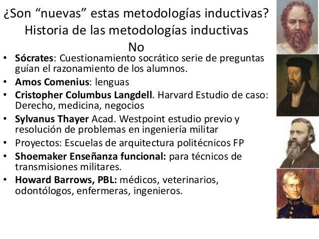 """¿Son """"nuevas"""" estas metodologías inductivas? Historia de las metodologías inductivas No • Sócrates: Cuestionamiento socrát..."""