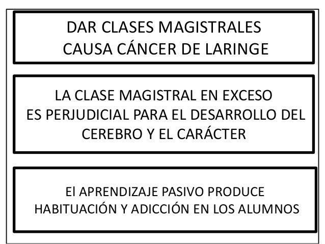 DAR CLASES MAGISTRALES CAUSA CÁNCER DE LARINGE LA CLASE MAGISTRAL EN EXCESO ES PERJUDICIAL PARA EL DESARROLLO DEL CEREBRO ...