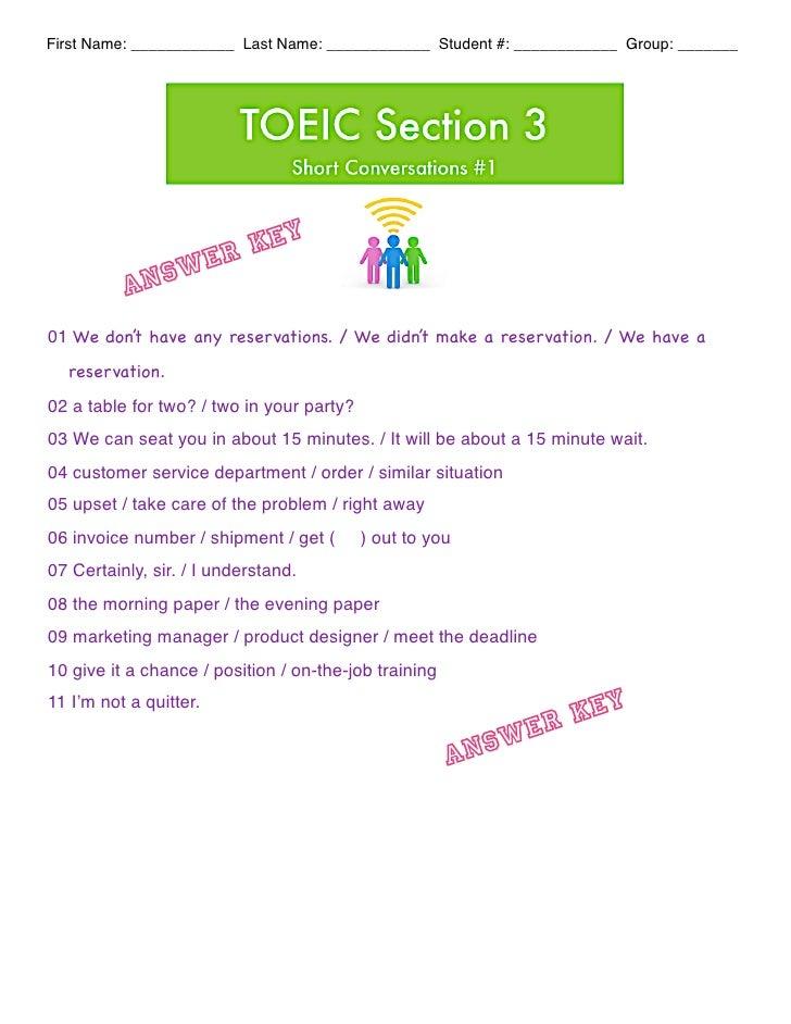 Short conversations worksheet #1 ak