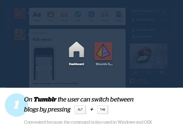 1 On Tumblr the user can switch between blogs by pressing + Convenient because: the command is also used in Windows and OSX
