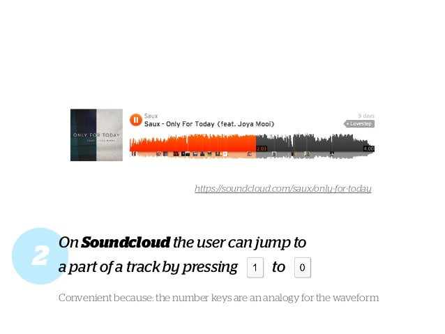 On Soundcloud the user can jump to a part of a track by pressing to Convenient because: the number keys are an analogy for...
