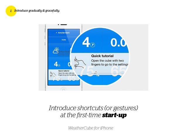 Introduce shortcuts (or gestures) at the first-time start-up 1. Introduce gradually & gracefully. WeatherCube for iPhone