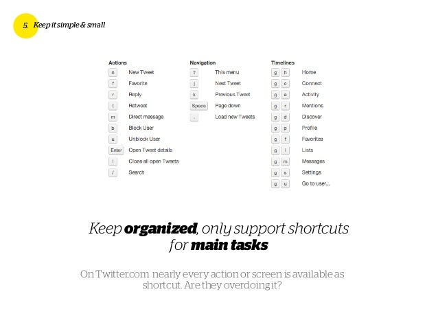 Keep organized, only support shortcuts for maintasks 5. Keep it simple & small On Twitter.com nearly every action or scree...