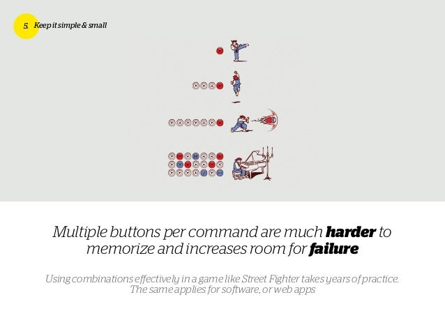 Multiple buttons per command are much harder to memorize and increases room for failure 5. Keep it simple & small Using co...