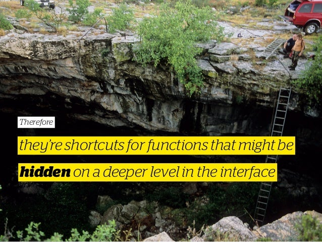 Therefore they're shortcuts for functions that might be hidden on a deeper level in the interface