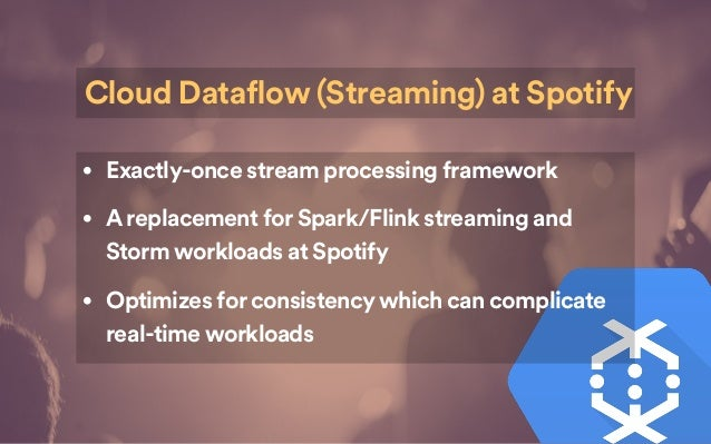 • Exactly-once stream processing framework • Areplacement for Spark/Flink streaming and Storm workloads at Spotify • Optim...