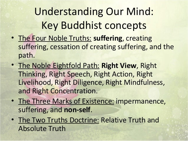an analysis of the buddhist concept of suffering and the four noble truths Essentials of buddhism  strive to be a buddha, not a buddhist four noble truths 1 suffering exists  freedom from suffering is possible by practicing the .