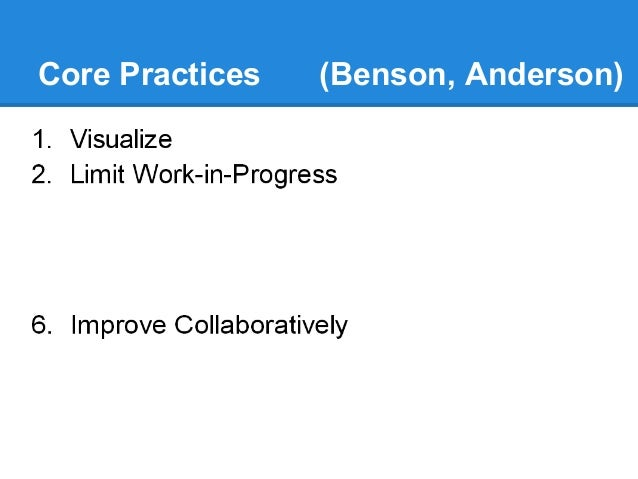 Core Practices  (Benson,(Anderson) Anderson)