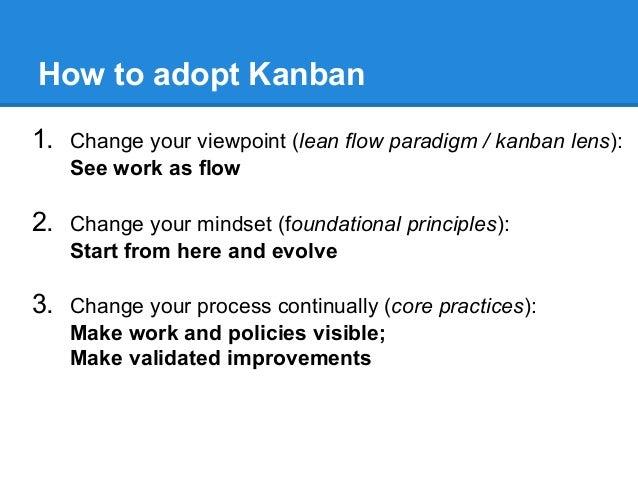 How to adopt Kanban 1. Change your viewpoint (lean flow paradigm / kanban lens): See work as flow  2. Change your mindset ...