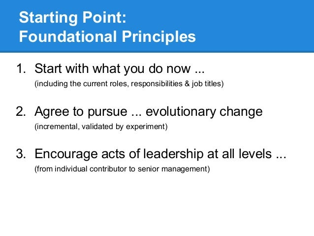 Starting Point: Foundational Principles 1. Start with what you do now ... (including the current roles, responsibilities &...