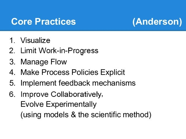 Core Practices 1.  2.  3. 4. 5. 6.  (Anderson)  Visualize Limit Work-in-Progress Manage Flow Make Process Policies Explici...