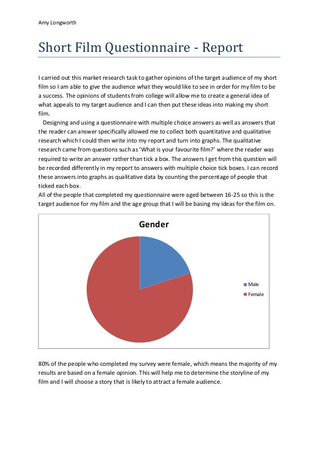 Amy LongworthShort Film Questionnaire - ReportI carried out this market research task to gather opinions of the target aud...