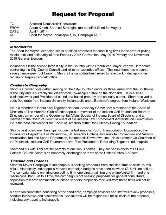 Request for Proposal TO: Selected Democratic Consultants FROM: Adam Kirsch, Sourced Strategies (on behalf of Short for May...
