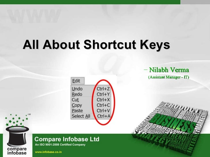 <ul><ul><li>All About Shortcut Keys </li></ul></ul><ul><ul><li>Nilabh Verma </li></ul></ul><ul><ul><li>(Assistant Manager ...