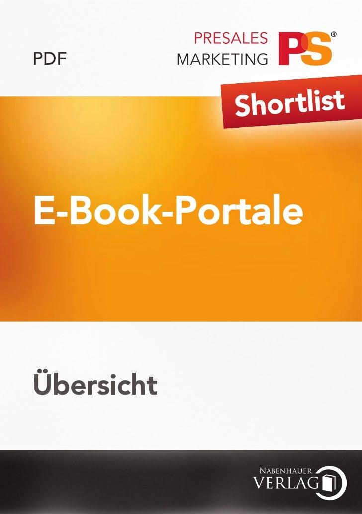 PDF            Shor tlistE-Book-PortaleÜbersicht