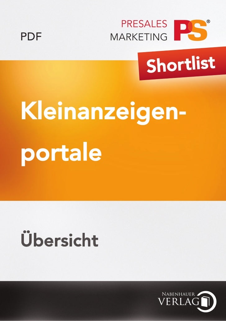 PDF            Shor tlistKleinanzeigen-portaleÜbersicht