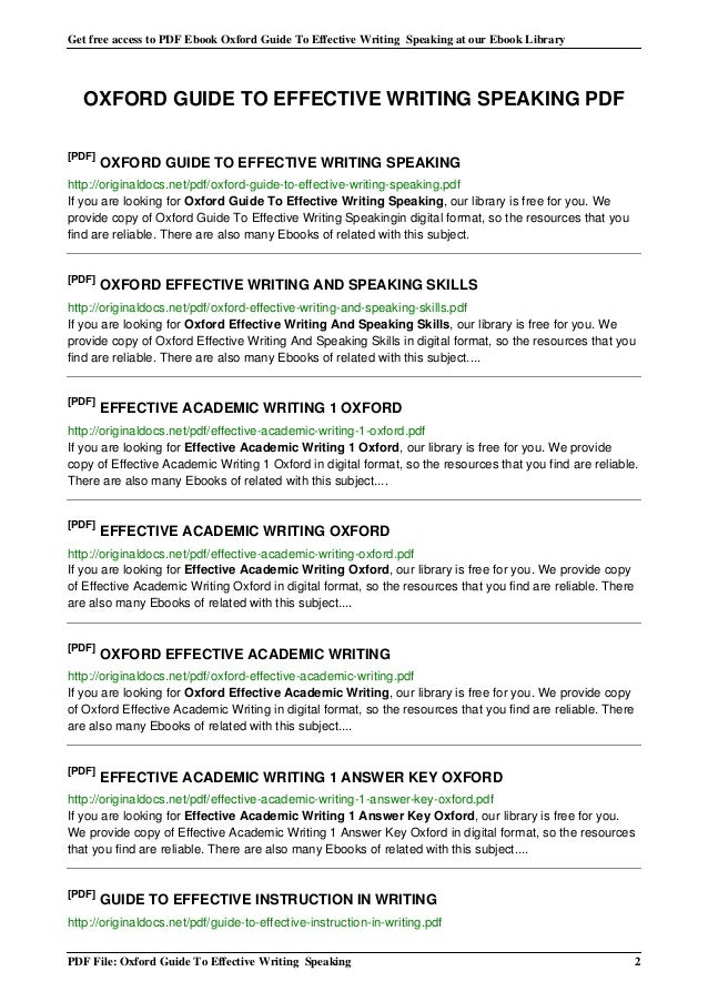 effective writing pdf Guidelines for effective writing in regard to letters, reports, memos, resumes, school papers, or even e-mails.