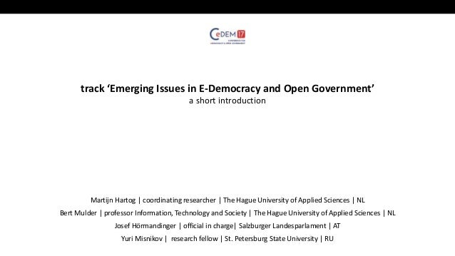 Short presentation track 'emerging topics in e-democracy and open gov….