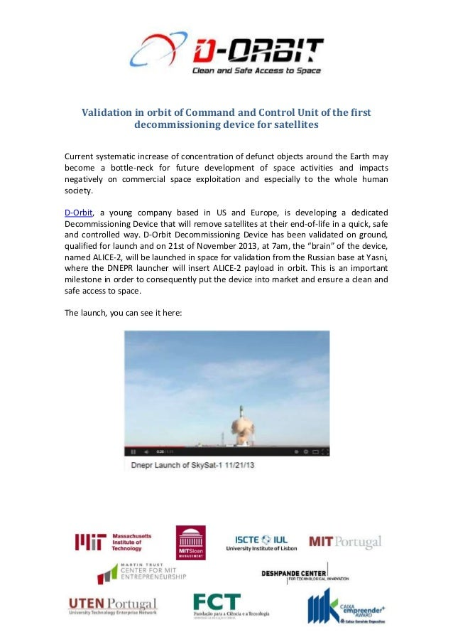 Validation in orbit of Command and Control Unit of the first decommissioning device for satellites Current systematic incr...