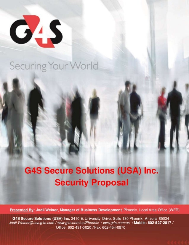 G4S Security Officer Training And Benefits Proposal. Presented By: Jodii  Weiner, Manager Of Business Development, Phoenix, Local Area Office ...