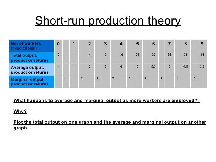 Short run production theory