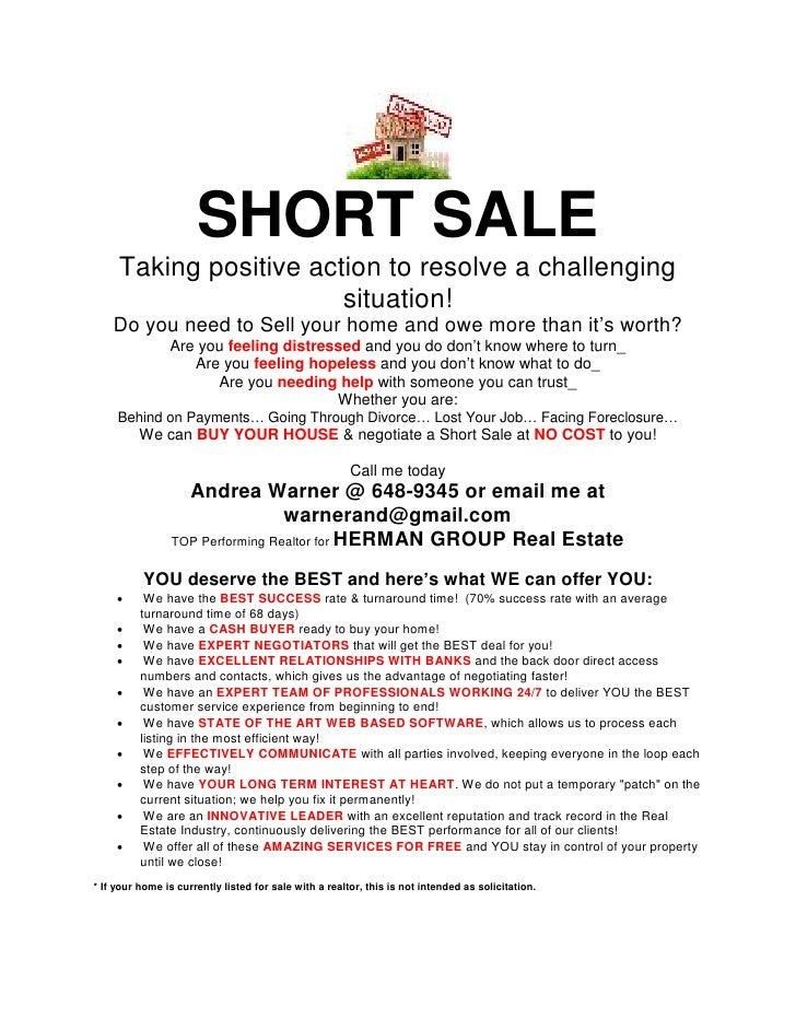 good short sale marketing #2: SHORT SALE Taking positive action to resolve a challenging situation!