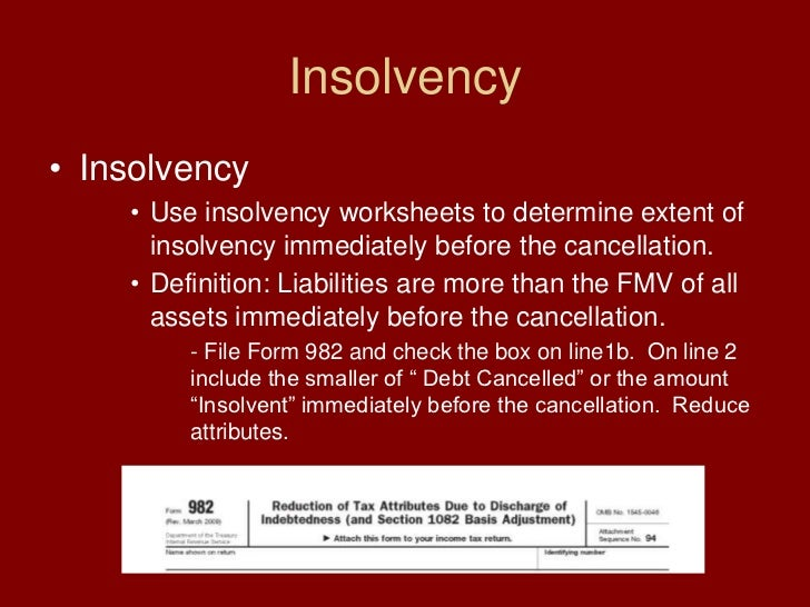 insolvency insolvency use insolvency worksheets to determine extent of ...