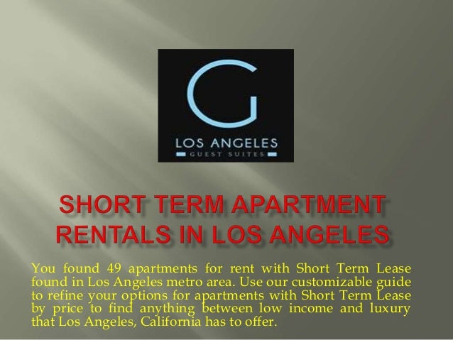 Short term apartment rentals in los angeles for Short term vacation rentals los angeles