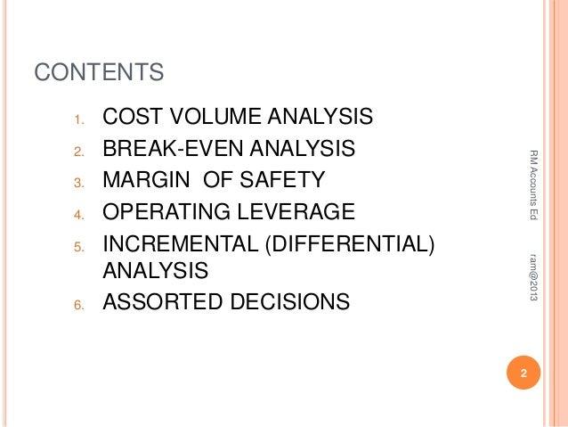 short note on break even analysis
