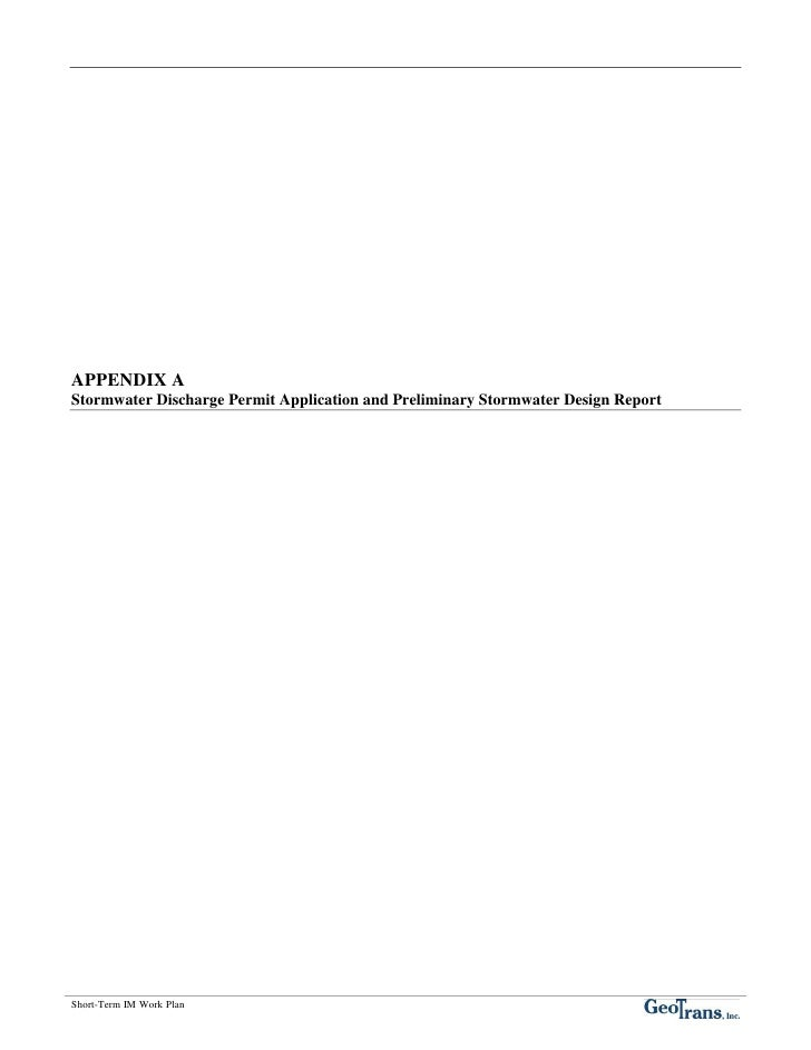 APPENDIX A Stormwater Discharge Permit Application and Preliminary Stormwater Design Report     Short-Term IM Work Plan
