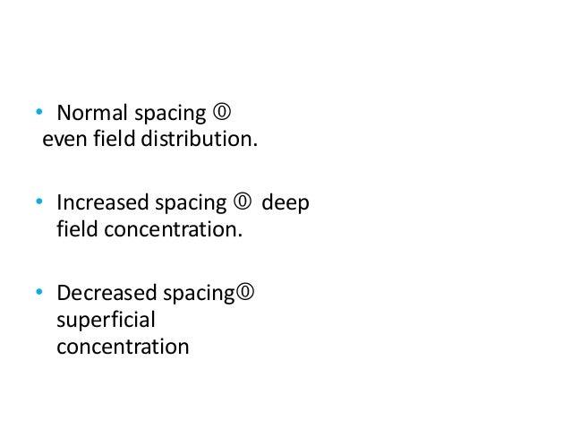 • Normal spacing  even field distribution. • Increased spacing  deep field concentration. • Decreased spacing superfici...