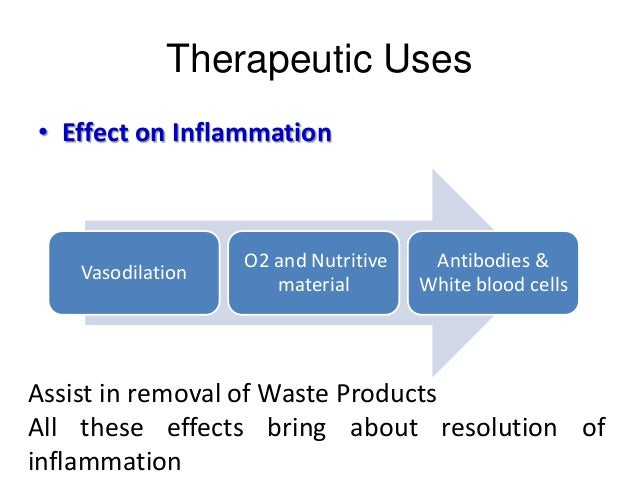 Therapeutic Uses • Effect on Inflammation Vasodilation O2 and Nutritive material Antibodies & White blood cells Assist in ...