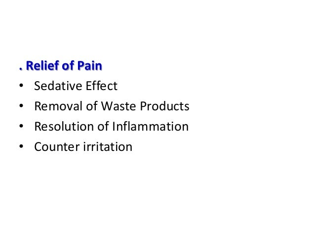 Effect on Muscle Tissue • Muscle relaxation • Relief of Muscle Spasm