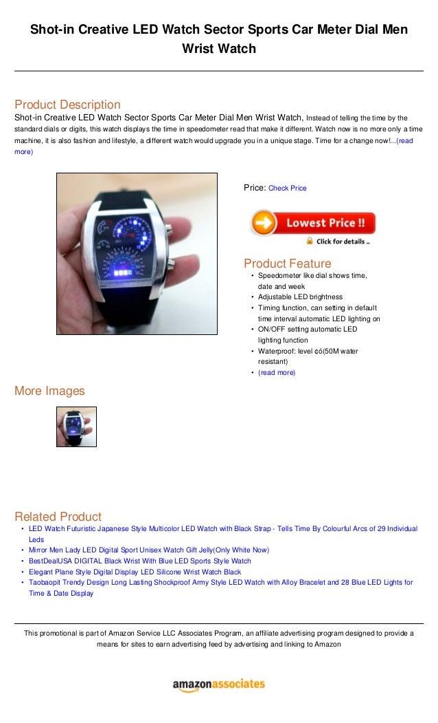 Shot In Creative Led Watch Sector Sports Car Meter Dial Men Wrist Wat