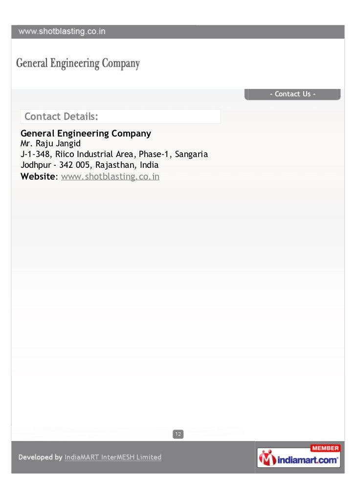 - Contact Us - Contact Details:General Engineering CompanyMr. Raju JangidJ-1-348, Riico Industrial Area, Phase-1, Sangaria...