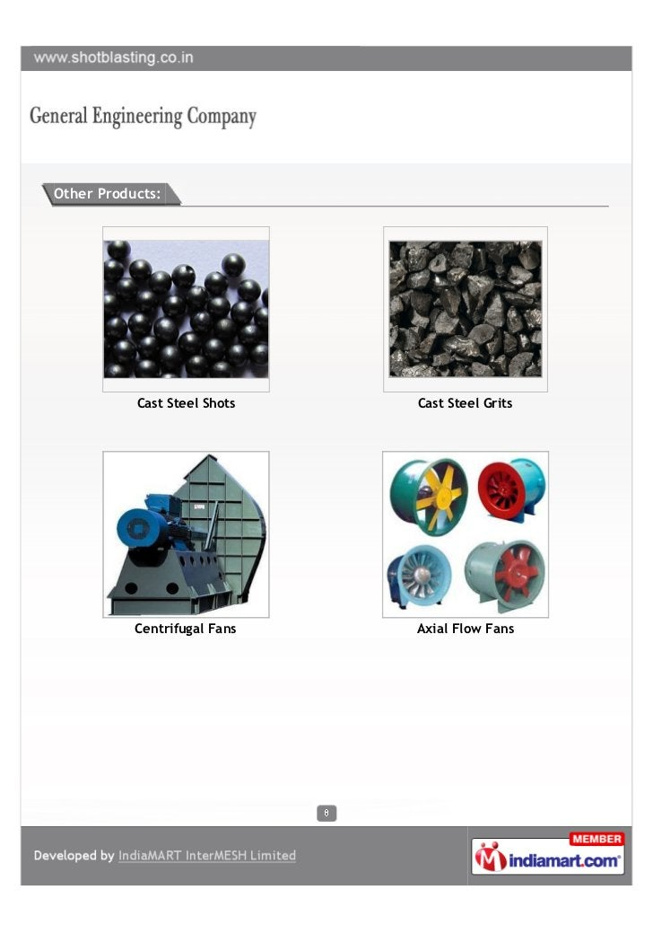 Other Products:           Cast Steel Shots   Cast Steel Grits           Centrifugal Fans   Axial Flow Fans