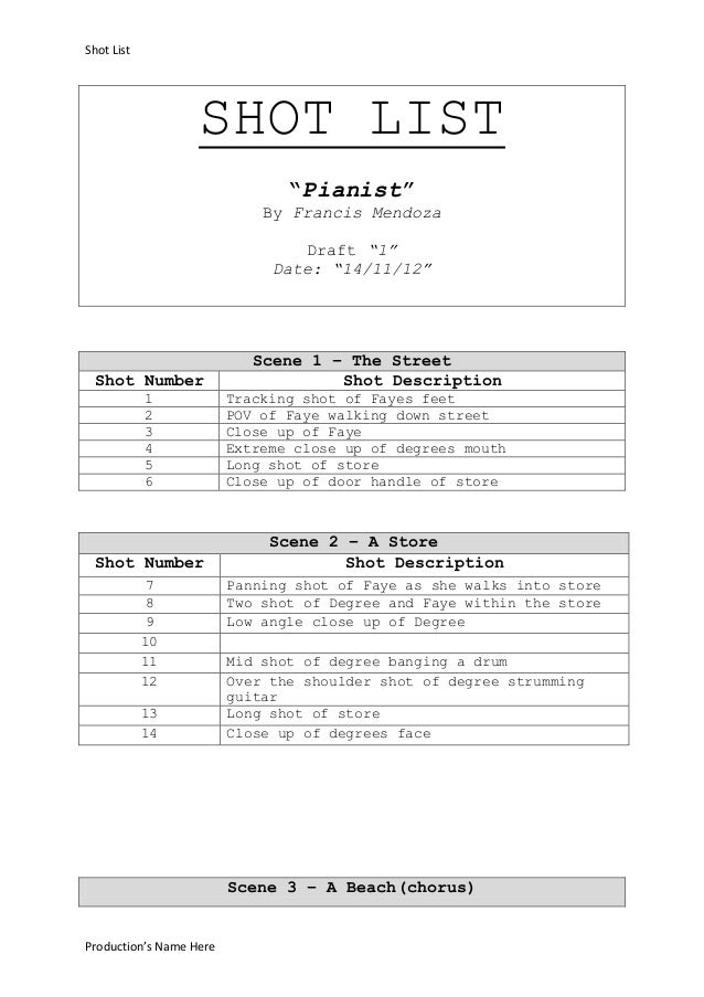 "Shot List                   SHOT LIST                                ""Pianist""                             By Francis Mend..."