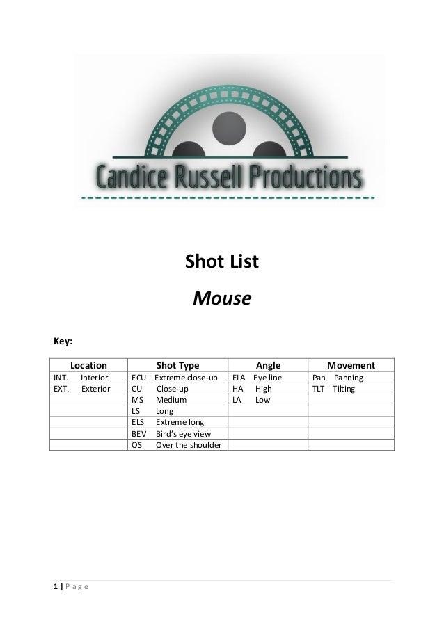 1 | P a g e Shot List Mouse Key: Location Shot Type Angle Movement INT. Interior ECU Extreme close-up ELA Eye line Pan Pan...