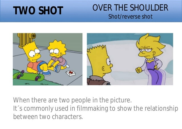 TWO SHOT When there are two people in the picture. It´s commonly used in filmmaking to show the relationship between two c...