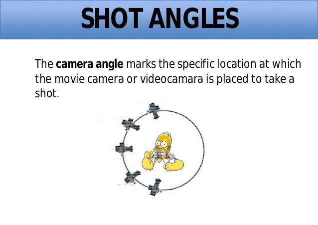 SHOT ANGLES The camera angle marks the specific location at which the movie camera or videocamara is placed to take a shot.