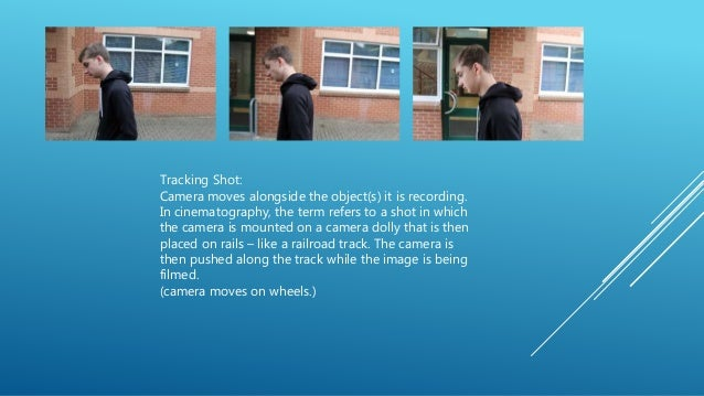 Tracking Shot: Camera moves alongside the object(s) it is recording. In cinematography, the term refers to a shot in which...