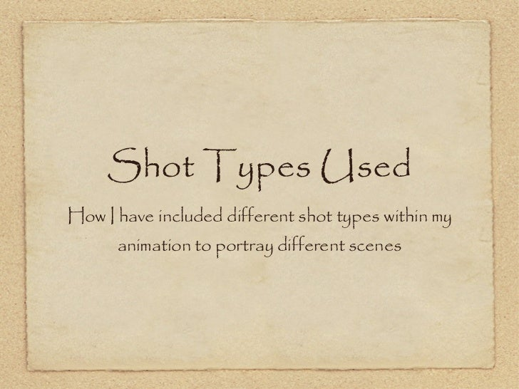 Shot Types Used <ul><li>How I have included different shot types within my animation to portray different scenes </li></ul>