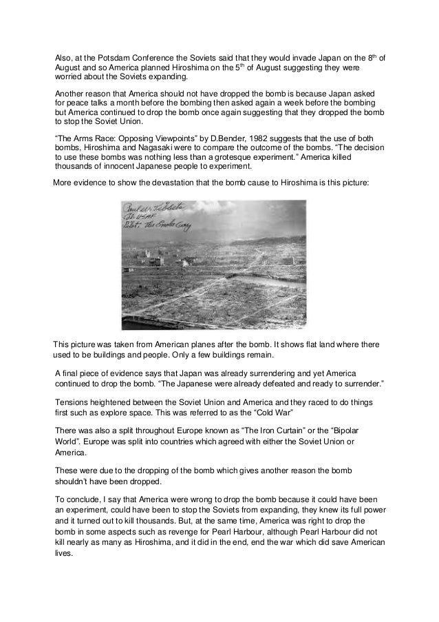 atomic bomb in hiroshima essay An essay sample on dropping the atomic bomb and why did truman drop the atomic bomb.