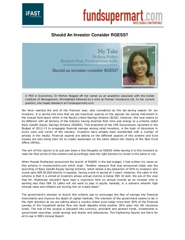 Should An Investor Consider RGESS?  A PhD in Economics, Dr Pothen flagged off her career as an academic associate with the...