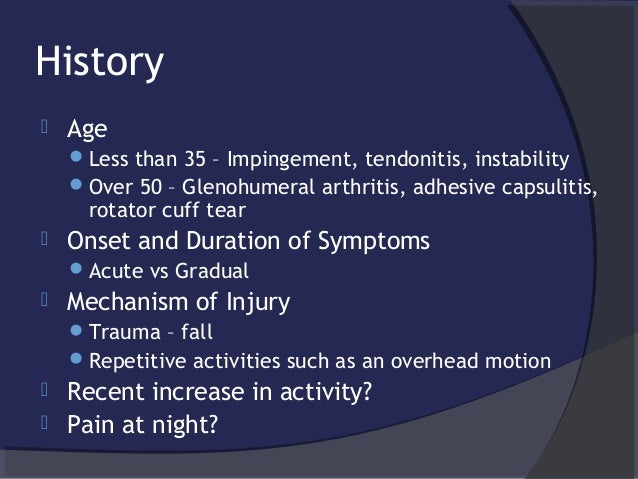 The Painful Adult Shoulder Evidence Based History Exam And Approach