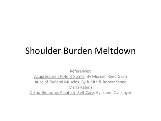 Shoulder Burden Meltdown                      References:  Acupressure's Potent Points. By Michael Reed Gach  Atlas of Ske...